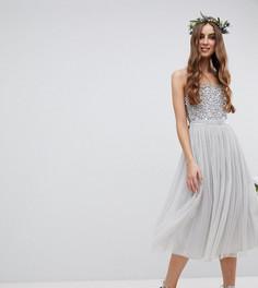 Платье миди с пайетками на лифе и тюлевой юбкой Maya Tall - Серый
