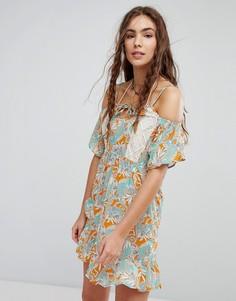 Платье с вырезами на плечах и цветочным принтом Maaji - Мульти