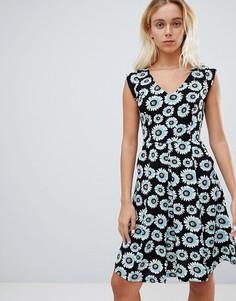 Короткое приталенное платье с цветочным принтом Louche - Черный