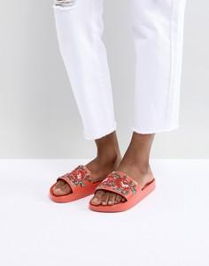 Шлепанцы с пиксельным цветочным принтом Melissa - Красный