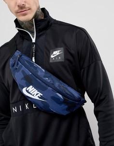 Синяя сумка-кошелек на пояс с камуфляжным принтом Nike - Синий