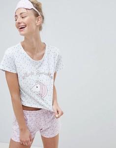 Пижама с шортами и маской для глаз Brave Soul - Розовый