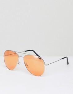 Солнцезащитные очки-авиаторы с оранжевыми стеклами 7x - Серебряный