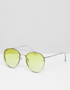Солнцезащитные очки-авиаторы с желтыми стеклами и эффектом омбре 7x - Серебряный