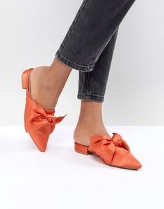 Балетки с бантиками и острым носком ASOS DESIGN - Оранжевый
