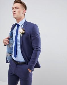 d3580bcd7bdb Льняной супероблегающий пиджак цвета индиго ASOS DESIGN - Темно-синий