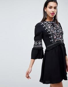 Свободное платье с вышивкой Forever New - Черный