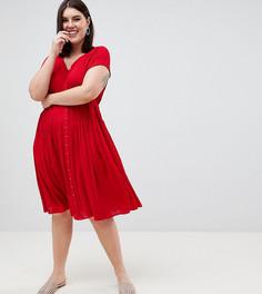 Чайное платье миди ASOS DESIGN Curve - Красный