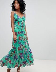 Платье макси с цветочным принтом и оборками ASOS DESIGN - Мульти