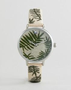 Часы с вышивкой на ремешке ASOS DESIGN - Коричневый