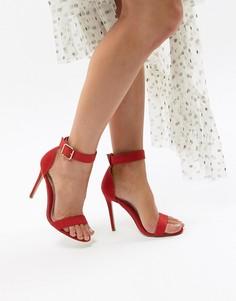 Босоножки на каблуке с ремешком вокруг щиколотки Missguided - Красный