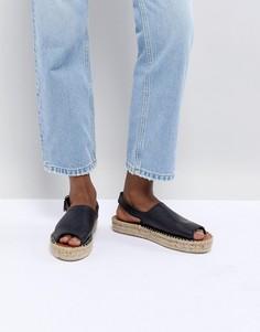Черные кожаные сандалии с ремешком на пятке Alohas - Черный