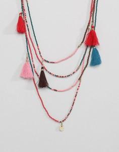 Ожерелье с бусинами и кисточками Pieces - Мульти
