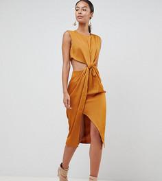 Атласное платье-футляр ASOS DESIGN Tall - Золотой