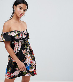 Короткое приталенное платье с открытыми плечами и цветочным принтом Parisian Petite - Черный