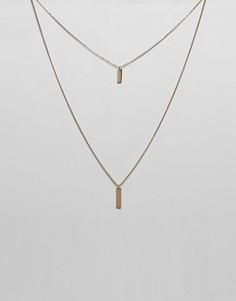 Многорядное ожерелье с прямоугольными подвесками ASOS DESIGN - Золотой