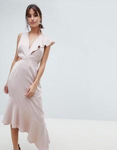 Атласное платье с глубоким декольте и вырезами по бокам ASOS DESIGN - Розовый