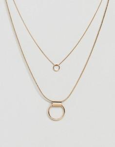 Ожерелье c подвеской геометрической формы Nylon - Золотой