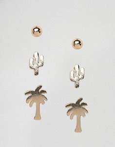 Набор из 3 пар сережек-гвоздиков (круглые/ с пальмами/ кактусами) Nylon - Золотой
