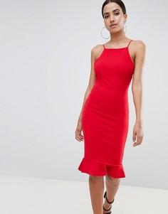 Платье миди с американской проймой и оборкой Missguided - Красный