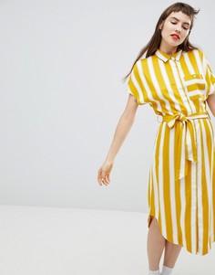 Свободное платье-рубашка в полоску Monki - Желтый