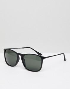 Солнцезащитные очки в квадратной черной оправе New Look - Черный