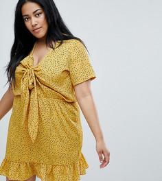 Чайное платье мини в горошек с завязкой Glamorous Curve - Желтый