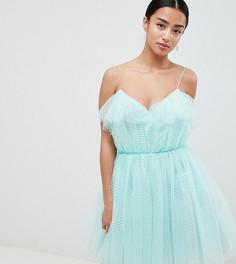 Платье для выпускного из тюля ASOS DESIGN Petite - Зеленый