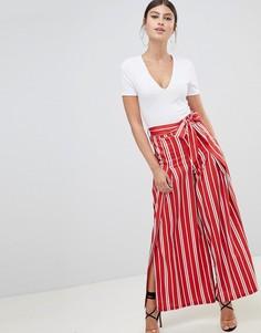 Широкие брюки в полоску с разрезами Boohoo - Красный