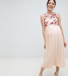 Плиссированное платье миди с вышивкой на лифе Little Mistress Мaternity - Кремовый