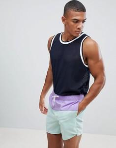 Сиреневые шорты для плавания колор-блок New Look - Фиолетовый