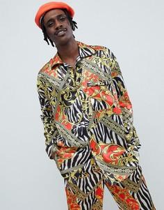 Пижамная рубашка с принтом Jaded London - Черный