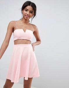 Короткое приталенное платье ASOS DESIGN - Розовый