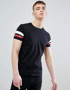Черная обтягивающая футболка с полосками на рукавах Esprit - Черный
