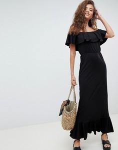 Сарафан макси с открытыми плечами и ярусной юбкой ASOS DESIGN - Черный