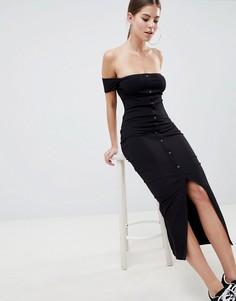 Платье макси на кнопках с открытыми плечами ASOS DESIGN - Черный