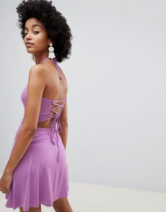 Платье с халтером и бретельками на спине ASOS DESIGN - Фиолетовый