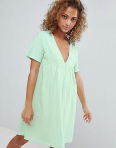 Свободное хлопковое платье ASOS DESIGN - Зеленый