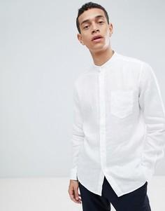 Белая льняная рубашка с воротником на пуговицах United Colors Of Benetton - Белый