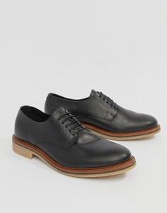 Черные кожаные туфли на шнуровке ASOS DESIGN - Черный
