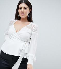 Блузка с запахом и кружевной вставкой Outrageous Fortune Plus - Кремовый