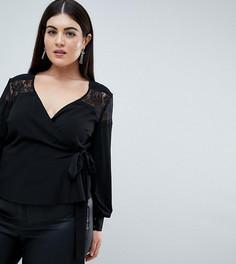 Блузка с запахом и кружевной вставкой Outrageous Fortune Plus - Черный