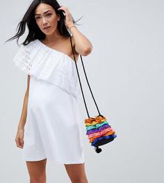 Свободное платье на одно плечо с вышивкой ришелье ASOS DESIGN Maternity - Белый