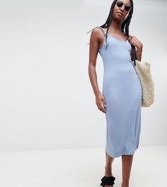 Платье в рубчик с декоративными узлами на бретелях ASOS DESIGN Tall - Синий