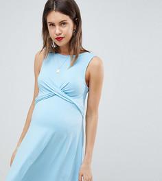 Короткое приталенное платье с перекрутом ASOS DESIGN Maternity - Синий