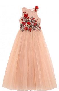 Платье-макси с многослойной юбкой и вышивкой с пайетками и бусинами Mischka Aoki
