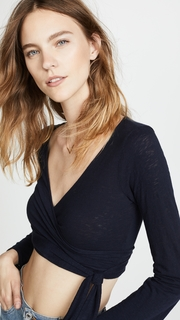Three Dots Tie Front Tee with Bell Sleeves