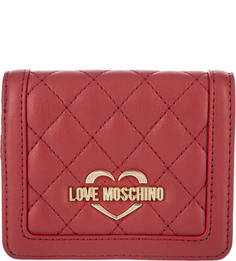 Красный кошелек с одним отделом для купюр Love Moschino