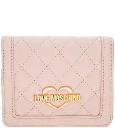 Розовый кошелек с одним отделом для купюр Love Moschino