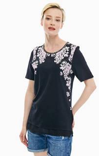 Черная футболка с цветочным принтом Blue Seven